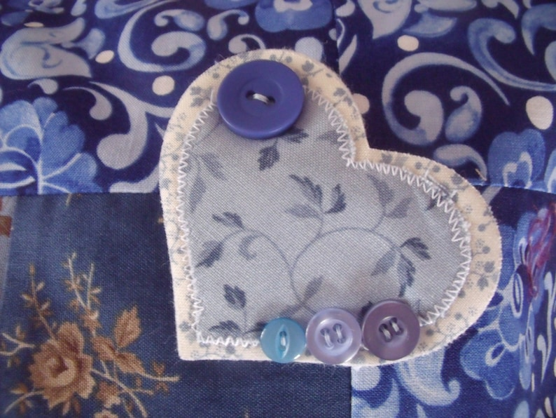 Handmade Includes Heart Pin On Brooch 15 Inch Pillow Cover Patchwork Cushion Cover. Blue Cushion Cover