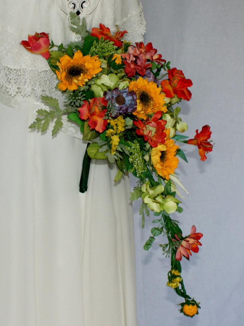 Bright and Colorful Silk Bridal Wedding Bouquet