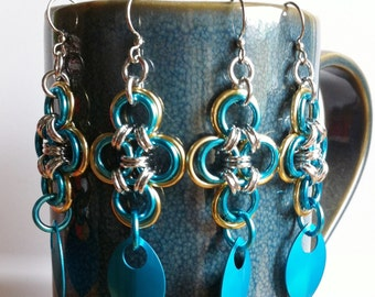 Dangle earrings, turquoise, japanese cross ,chainmaille with scales, silver griffon designs, chain mail, chandelier earring