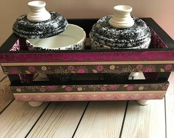 Purple metallic black decorative crate set, swirl theme,home decor,decoupage,office decor,house warming,mother's day,christmas gift