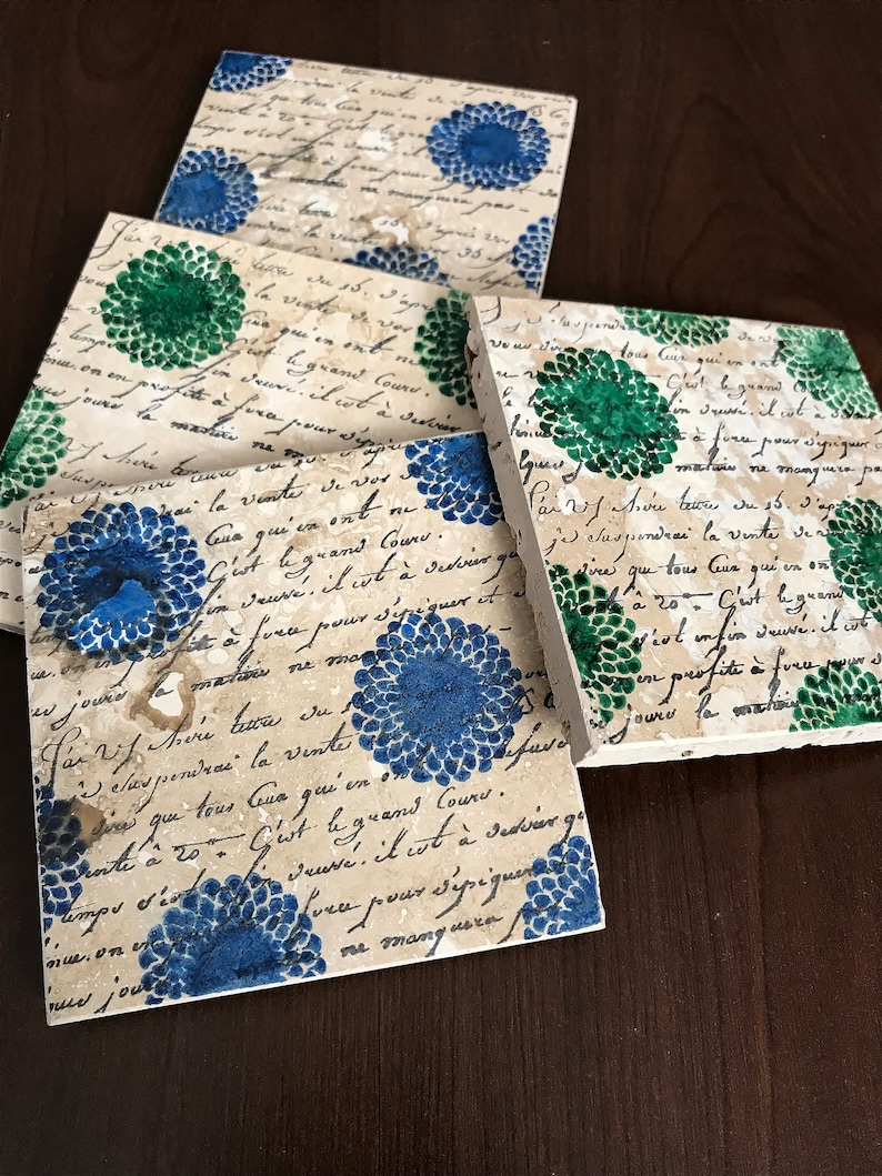 Blue and green floral pattern stone drink coasters set of 4 image 0