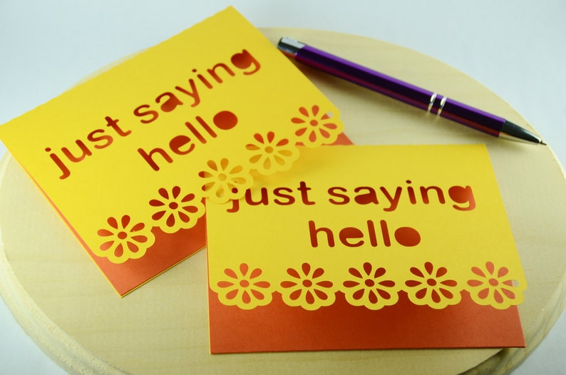 Orange Just saying hello blank notecards stationary teacher image 0