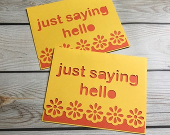 Just saying hello blank notecards, stationary, teacher, hostess gift, invitations, silver griffon designs