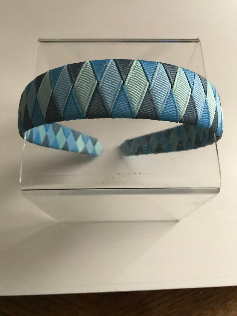 Blue tones woven grosgrain ribbon headband image 0