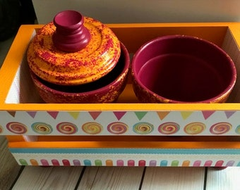 Orange and pomegranate decorative crate set, swirl theme,home decor,decoupage,office decor,house warming,mother's day,christmas gift