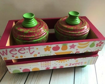 Pomegranate and green decorative crate set fruit theme,home decor,decoupage,office decor,house warming,mother's day,christmas gift