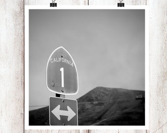 California 1 Black and White Photography Modern Art Print PCH CA1 Highway 1 Road Sign Pacific Coast Coastal Gray Central Coast