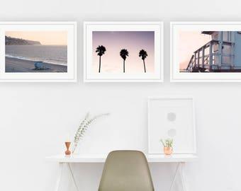 Redondo Beach Photography, California Print Set Beach Prints Ocean Palos Verdes Lifeguard Tower Palm Trees Los Angeles Coastal Decor