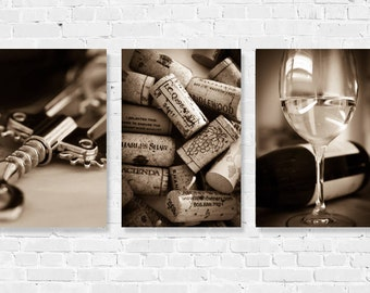 634162c51 Wine Photography Print Set Kitchen Dining Art Decor Winery Set of 3 Wine  Corks Wine Glasses California Black   White Sepia Bar Wine Country