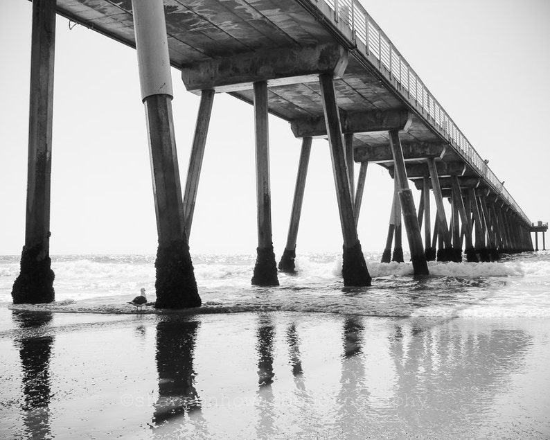 Black and White Hermosa Beach Photography California Coast image 0