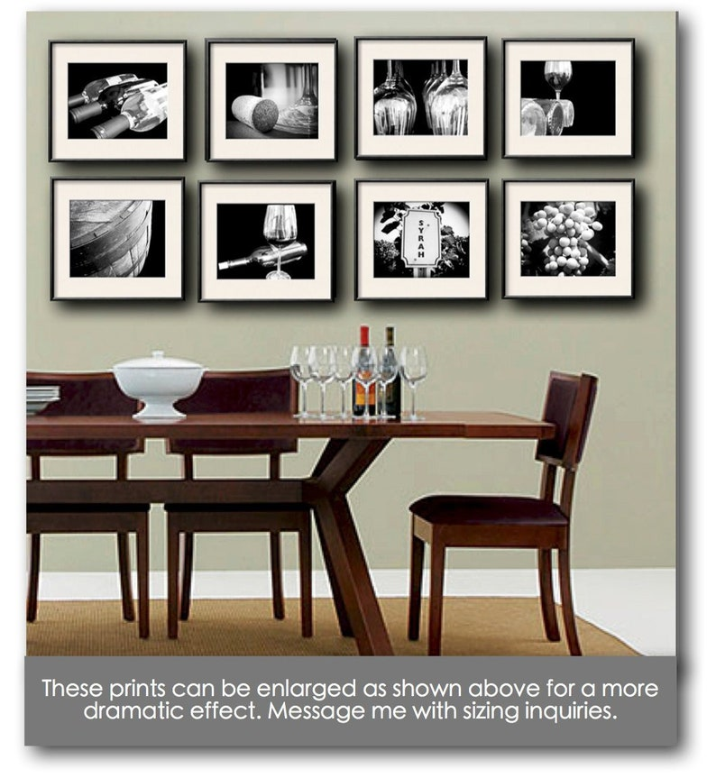 Wine Photography Set of 8 5x7 or 8x10 Prints Wine Print Set image 0