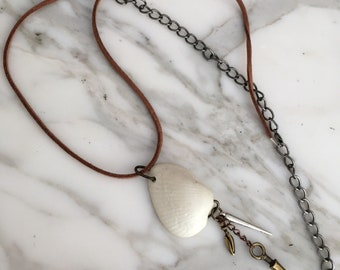 Long Shell Necklace with Metal Charms and Upcycled Suede Cord