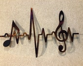 EKG Line Music Notes Treble Clef Heartbeat Sinus Rhythm Indoor or Outdoor Metal Art