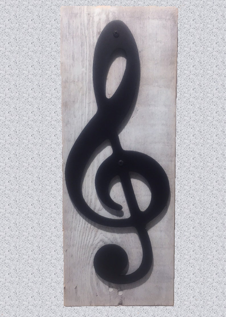 Metal Art Treble Clef Music Note On Reclaimed Wood image 0