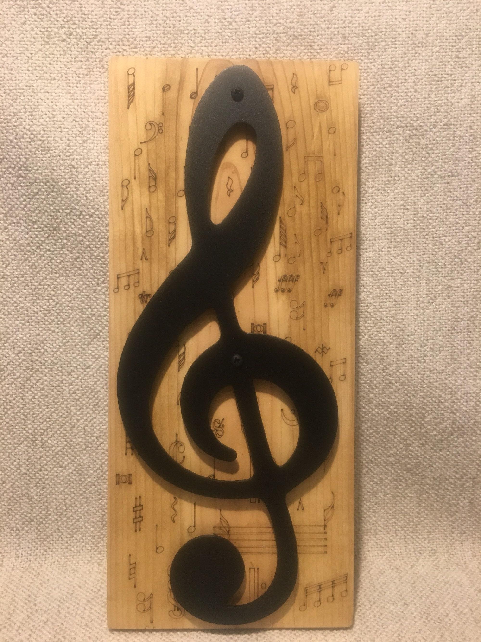 Metal Art Treble Clef Music Note On Lasered Wood Music Symbols