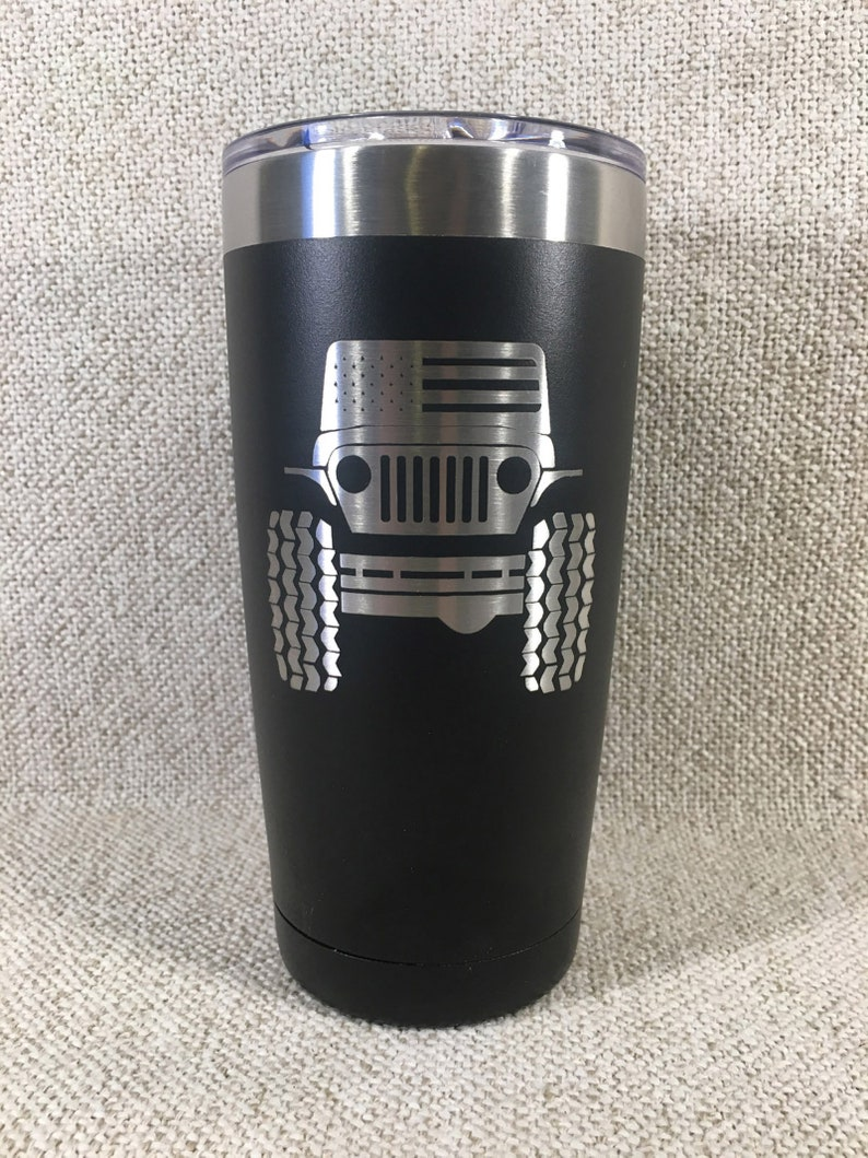 Laser Engraved Jeep Stainless Steel Insulated Tumbler image 0