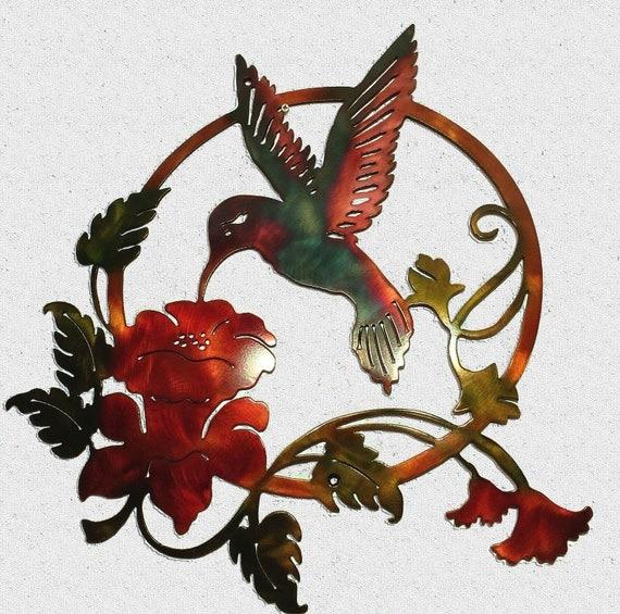 Hummingbird Feeding On Flowers Indoor Or Outdoor Metal Wall Art W Patina Finish