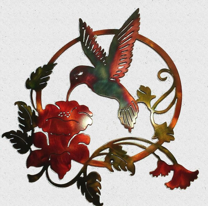 Hummingbird Feeding On Flowers Indoor Or Outdoor Metal Wall image 0
