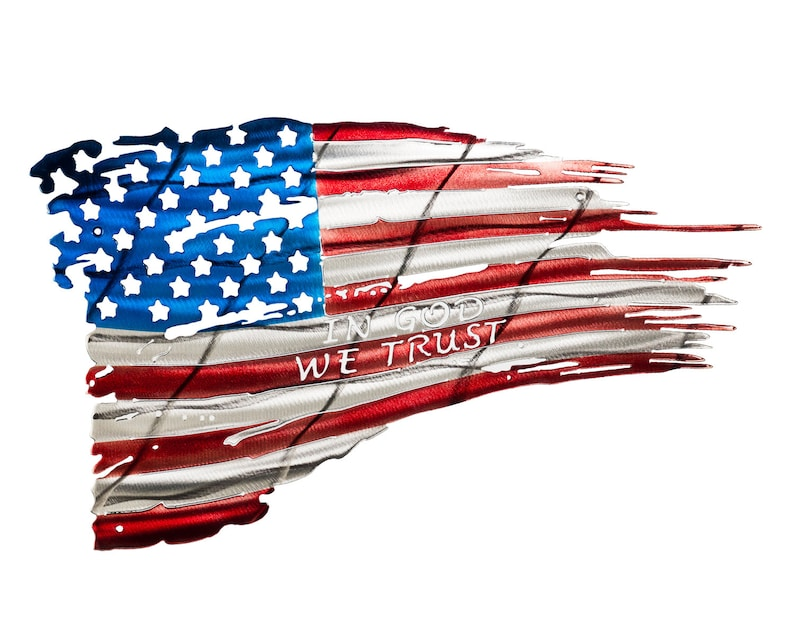 Tattered Weathered & Battle Worn American Flag Metal Art image 0