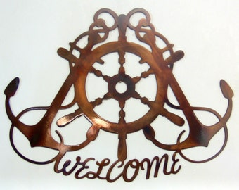Ships Wheel & Crossed Anchors Nautical Metal Art Welcome Sign