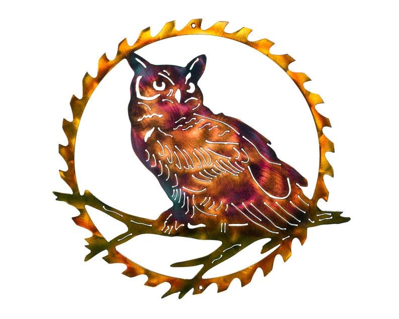 30 Bard Owl In Sawblade Indoor Or Outdoor Metal Art image 0
