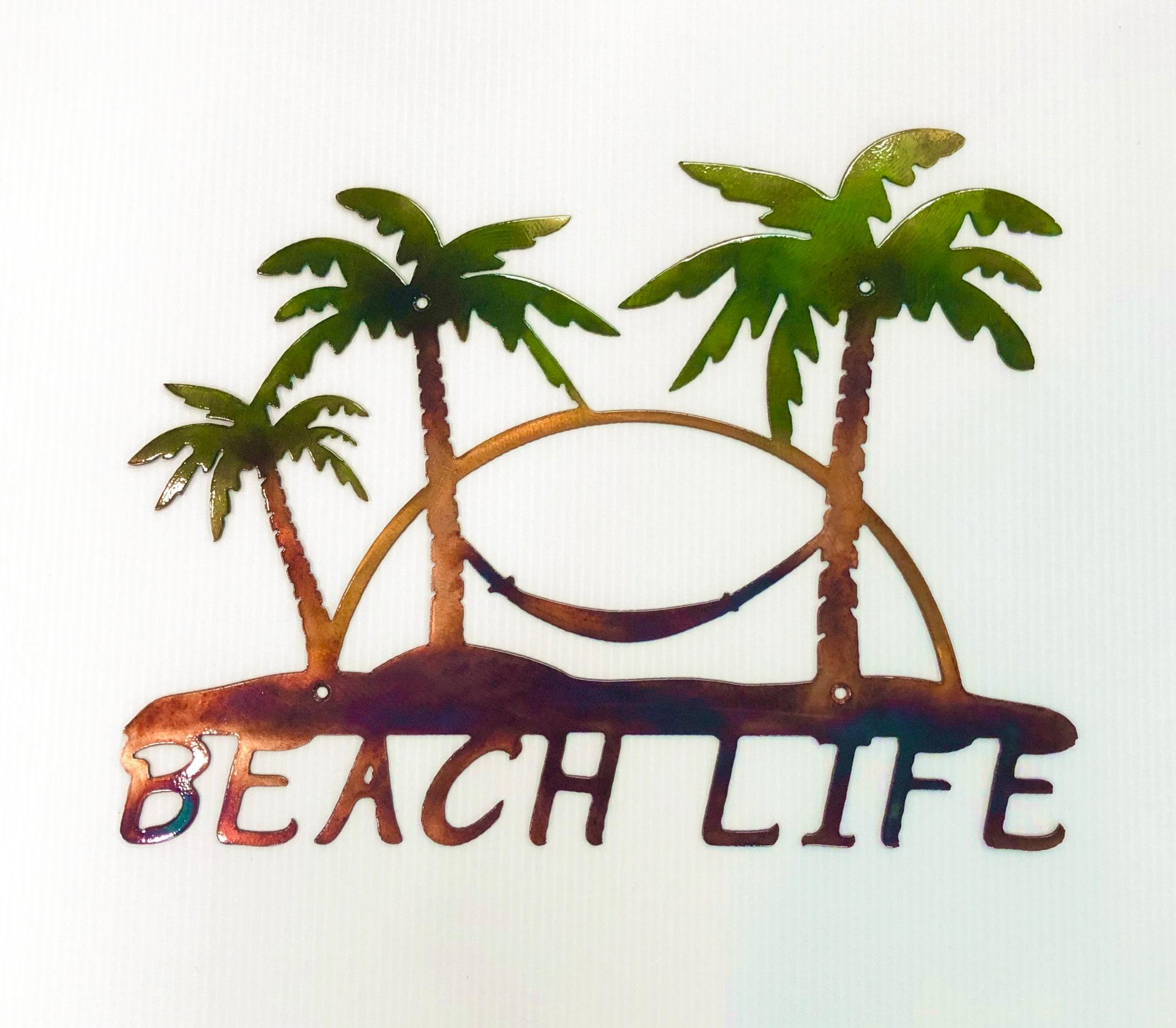 Beach Life Palm Trees Hammock Nautical Metal Indoor Or Outdoor Wall Art