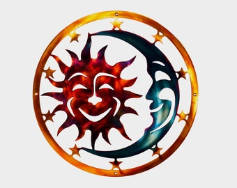 Sun, Moon, & Stars Celestial Indoor or Outdoor Plasma Cut Metal Wall Art