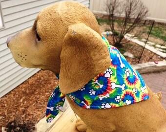 Tie Dye Dog Bandana with Paw Prints and Dog Bones tie bandana - xs, m, l