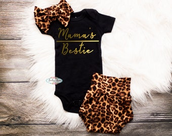 662fa262c Girl coming home outfit, Bummies, Leopard Print, Mama's Bestie, Summer,  Newborn Headband, Baby shorts bow set, Baby Girl Outfit, Gold, girls