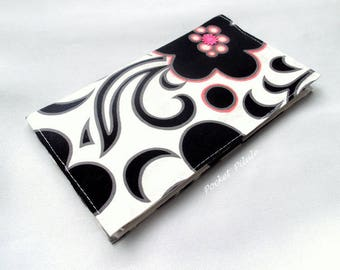 """Checkbook """"Poetic"""" cotton black white and pink"""