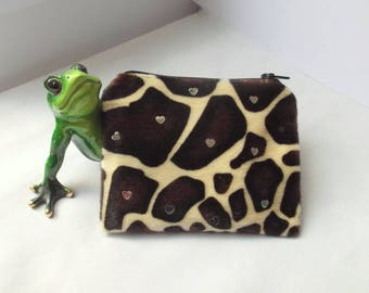 """""""Giraffe"""" style African, Brown and beige pouch"""