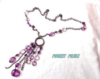 "Long necklace ""Tender"" glamour, violet glass"