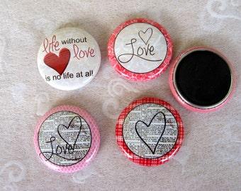 Love Button Magnets, Romance, Valentine's Day Party Favor, Romantic Theme