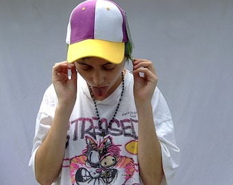 90s fresh prince of bel air jazzy jeff yellow purple colorblock hat cap adfabac247d5