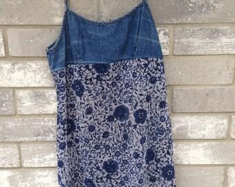 90s grunge denim mesh floral dress