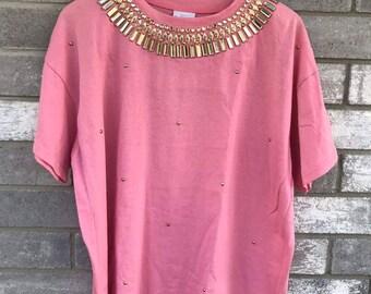 80s 90s glam rhinestone embellished pink t shirt