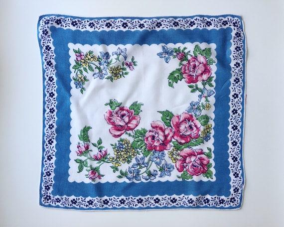 Hankie Pocket Square Handkerchief Dark Blue /& Blue /& Orange Pansy Floral
