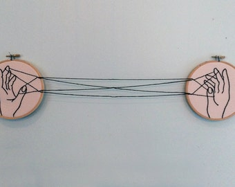 Cat's Cradle Embroidery Hoop Wall Art Set