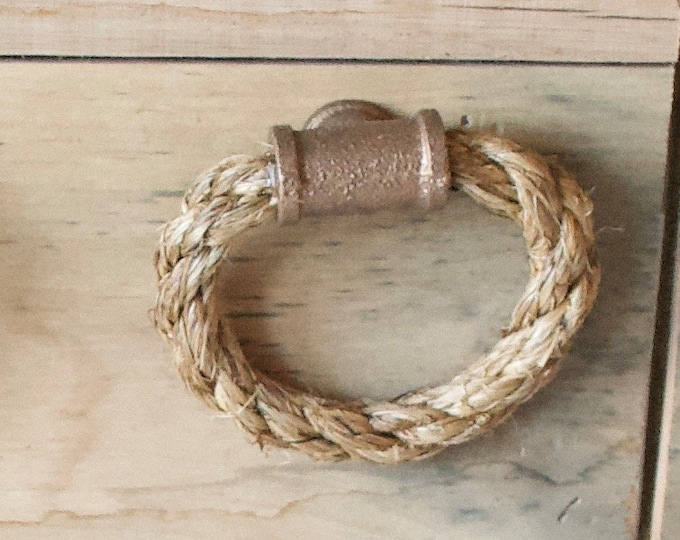 Rope Drawer Circle Pull, Cabinet Knob: Red Brass Pipe Tee End