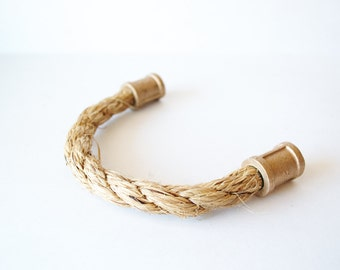 Rope Drawer Handle, Cabinet Pull: Red Brass Pipe Straight End