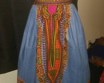 Dashiki print Skirt knee length skirt