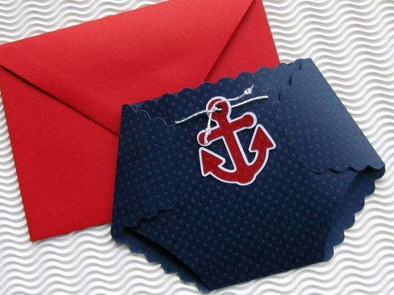 Nautical Themed Diaper Shaped Baby Shower Invitation Etsy
