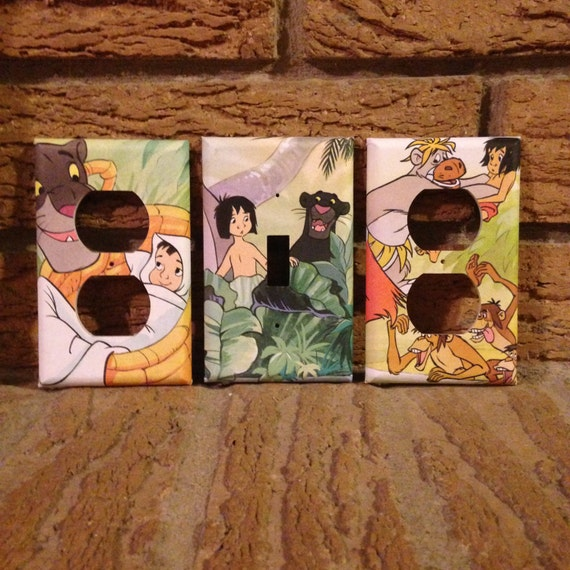 Jungle Book Mowgli And Bagheera Light Switch Plate And Two