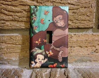 Kala and Baby Tarzan Light Switch Cover, Tarzan Nursery, Tarzen Gift, Tarzan Baby Gift, Tarzan Decor, Tarzan Decoration