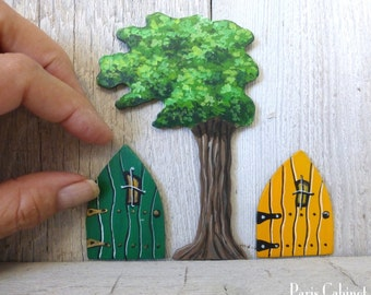 Set of Fantasy Windswept Tree and Tiny Doors Hand Painted on Wood in Green and Yellow 3 Pieces Magical Fairy Doors  Art Acrylic Painting
