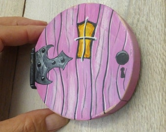 Round Fairy Door Window Choose Pink Rustic Reclaimed Wood Tooth Fairy Door Miniature Distressed Art Acrylic Painting