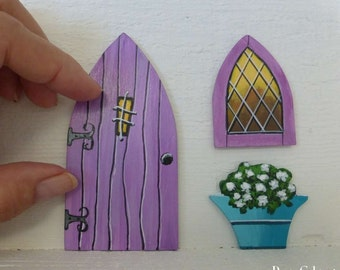 Set Lavender Door Window & Flower Pot Curly Hinges Hand Painted Fairy Door Stained Glass Window Miniature Magic Door Painting on Wood