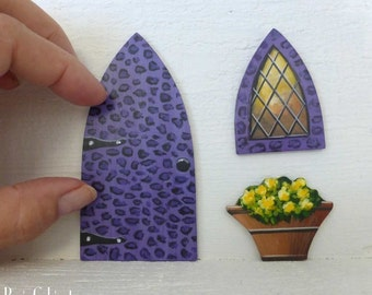 Set of Purple Leopard Door Window & Flower Pot Hand Painted Fairy Door Stained Glass Window Miniature Magic Door#126