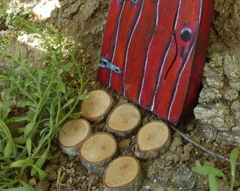 Woodland Fairy Stepping Stones of Wood Miniature Garden Stones Urethane Finish