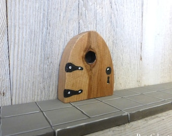 Knot Hole Fairy Door Window Rustic Reclaimed Wood One of A Kind OOAK Tooth Fairy Door Miniature Distressed Art Acrylic Painting #133
